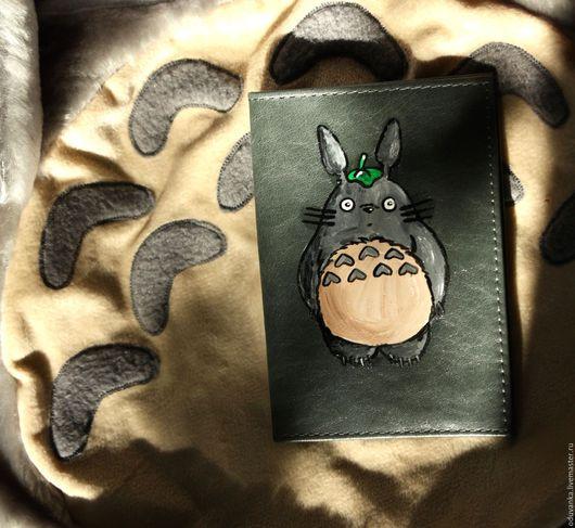 """Обложки ручной работы. Ярмарка Мастеров - ручная работа. Купить Обложка """"Тоторо"""". Handmade. Обложка на паспорт, оригинальная обложка, серый"""