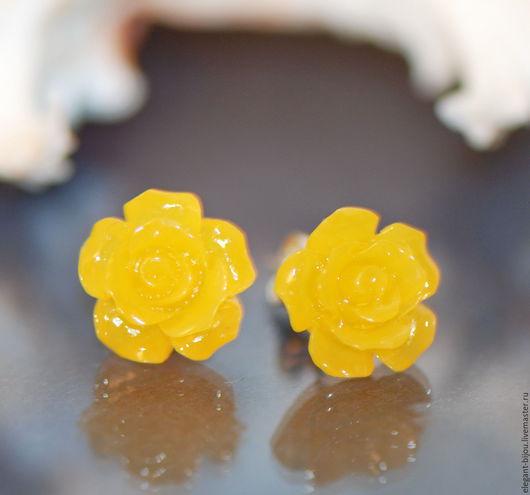 серьги желтые; желтые серьги; желтые сережки; подарок девочке; подарок дочери; подарок дочке; подарок на новый год; серьги цветочки; желтые розы; серьги розочки; подарок подруге