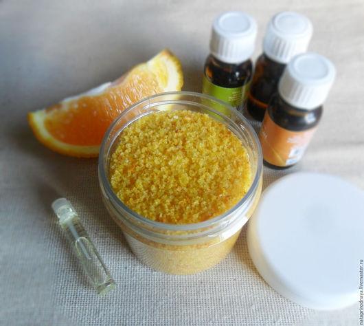 """Соль для ванны ручной работы. Ярмарка Мастеров - ручная работа. Купить Соль для тела """"Апельсин"""" 150 мл. Handmade. Оранжевый"""