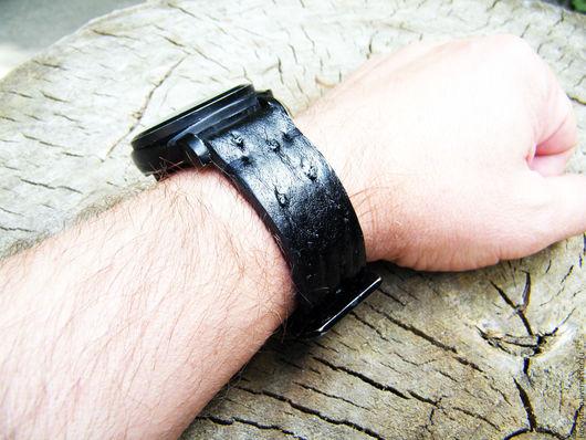 """Часы ручной работы. Ярмарка Мастеров - ручная работа. Купить Ремешок для часов из кожи страуса """"Дракон №2"""". Handmade. Черный"""