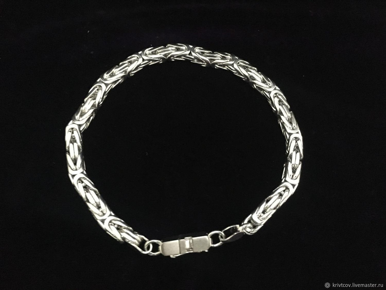 """Серебрянный браслет """"Византия"""" 35.3 грамма, 23.3 см, Браслет из бусин, Пенза,  Фото №1"""