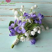 Украшения handmade. Livemaster - original item Brooch with lilies of the valley and violets