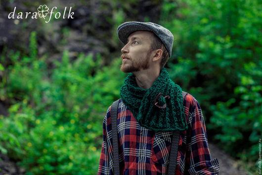"""Этническая одежда ручной работы. Ярмарка Мастеров - ручная работа. Купить Шарф-снуд """"Виклоу"""". Handmade. Тёмно-зелёный"""