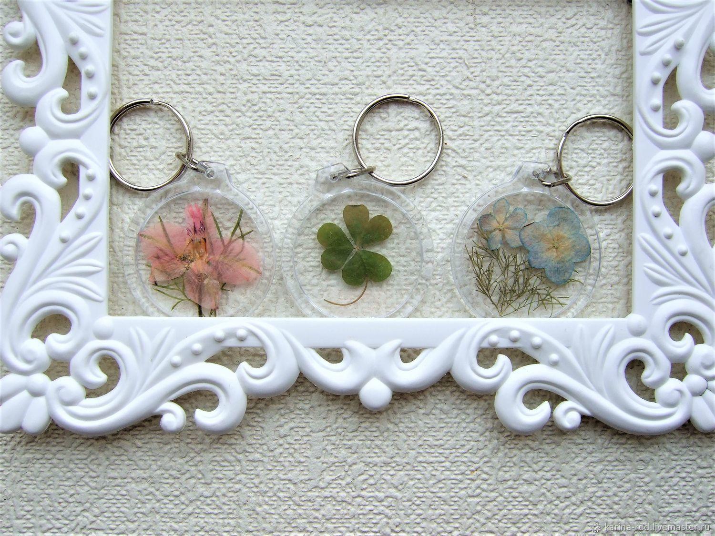 Прозрачный Брелок на Ключи Сумку Рюкзак с Настоящими Цветами и Травами