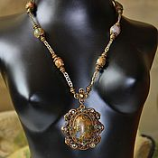 Украшения handmade. Livemaster - original item Vintage set of necklace,earrings with rhyolite Secrets of the forest. Handmade.
