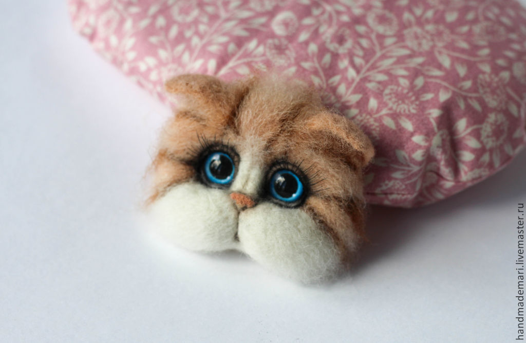 Brooch felted muzzle cats, Brooches, Moscow,  Фото №1