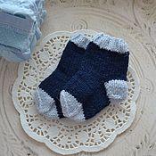 Работы для детей, ручной работы. Ярмарка Мастеров - ручная работа Носочки для малыша синие (сине-голубые). Handmade.
