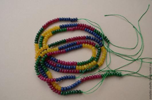 Для украшений ручной работы. Ярмарка Мастеров - ручная работа. Купить Нефрит нить из 4х цветов, граненый рондель. Handmade.