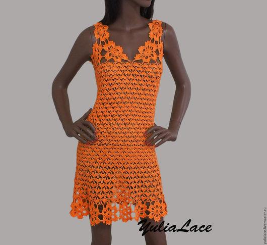 """Платья ручной работы. Ярмарка Мастеров - ручная работа. Купить Вязаное платье """"Orange"""". Handmade. Оранжевый, платье вязаное"""