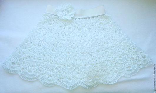 """Одежда для девочек, ручной работы. Ярмарка Мастеров - ручная работа. Купить Детская вязаная юбка """"Ромашка"""". Handmade. Белый"""