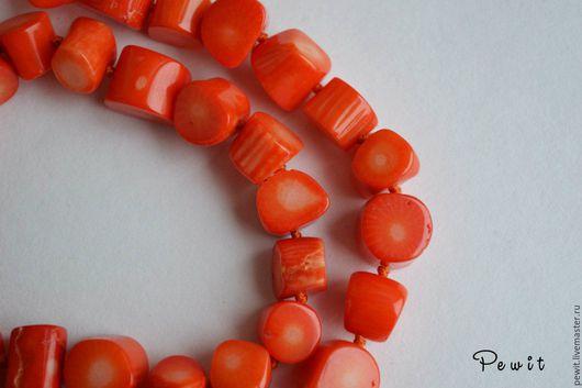 Для украшений ручной работы. Ярмарка Мастеров - ручная работа. Купить Бусины из коралла, срезы. Handmade. Ярко-красный, коралл