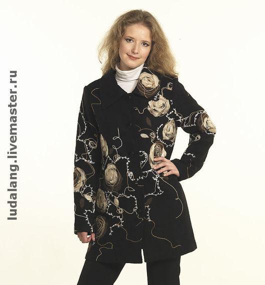 """Пиджаки, жакеты ручной работы. Ярмарка Мастеров - ручная работа. Купить Полупальто """"Чайная роза"""". Handmade. Авторский трикотаж, пиджак"""