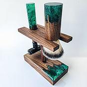 Сувениры и подарки handmade. Livemaster - original item Shaving kit made of walnut and epoxy resin. Handmade.