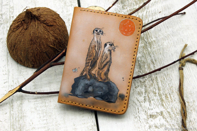 Кожаная обложка на паспорт с рисунком Сурикаты, Обложка на паспорт, Мурманск,  Фото №1