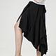 Юбка длинная чёрная тёплая трикотажная, юбка нарядная, асимметричная длинная из ангоры