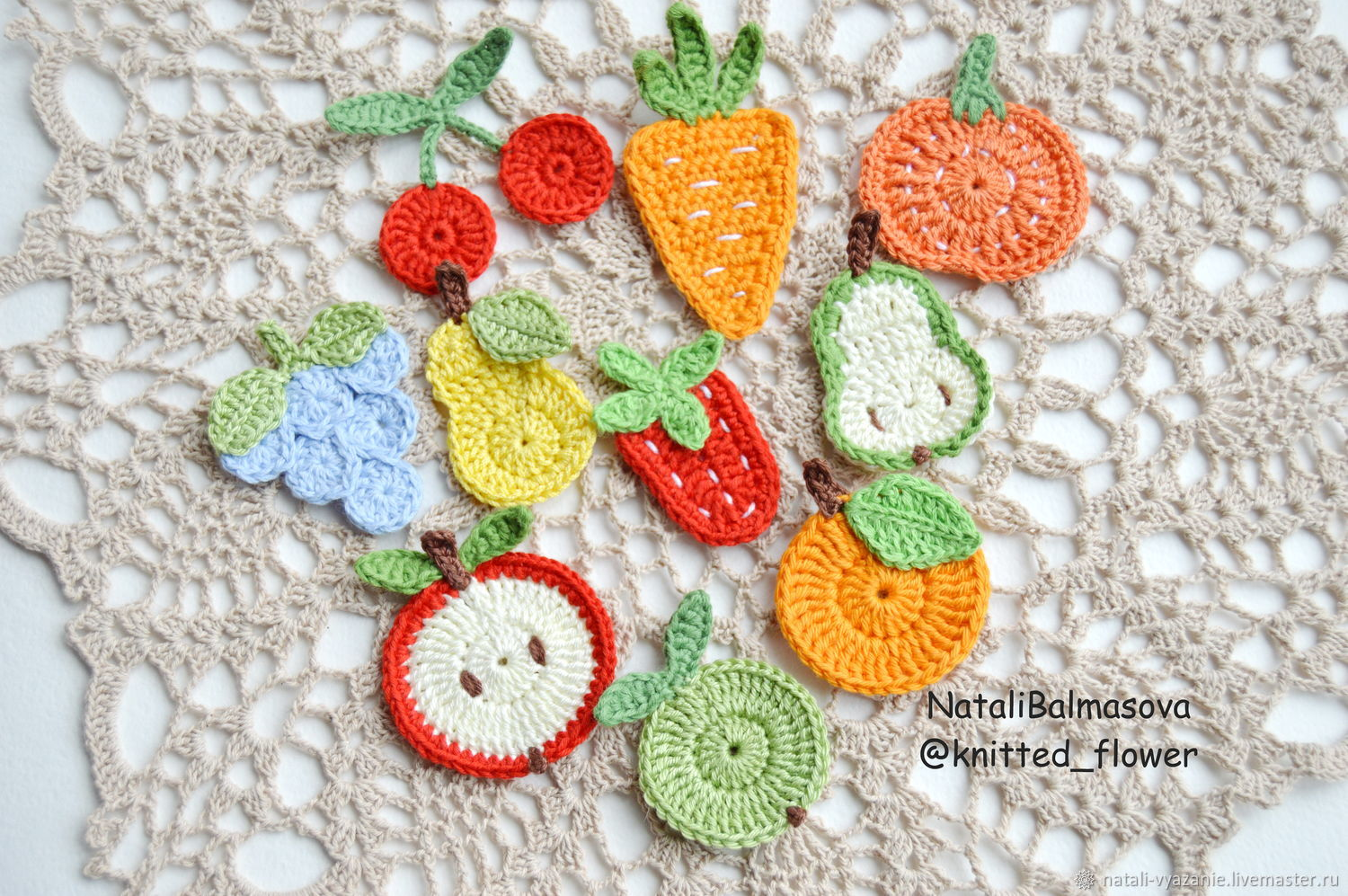 Applications fruits vegetables knitted, Embroidery accessories, Sosnovyj Bor,  Фото №1