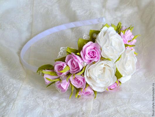 """Диадемы, обручи ручной работы. Ярмарка Мастеров - ручная работа. Купить Ободок для волос """"Нежность"""". Handmade. Розовый, для невесты"""