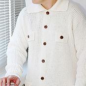 Одежда handmade. Livemaster - original item Cardigan knitted Royal size men`s with pockets handmade. Handmade.
