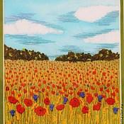 Картины и панно ручной работы. Ярмарка Мастеров - ручная работа Вышитая картина Маковое поле. Handmade.