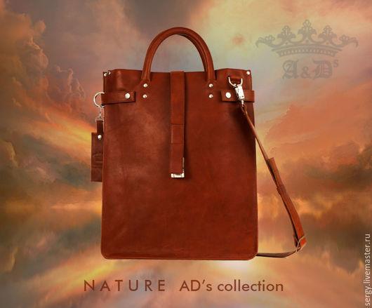 Мужские сумки ручной работы. Ярмарка Мастеров - ручная работа. Купить Сумка пакет кожаная Package Bag Terracotta. Handmade.