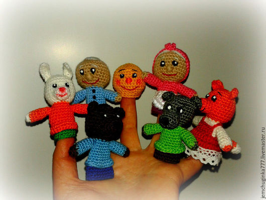 """Развивающие игрушки ручной работы. Ярмарка Мастеров - ручная работа. Купить Пальчиковый театр """"КОЛОБОК"""". Handmade. Разноцветный, пальчиковые игрушки"""