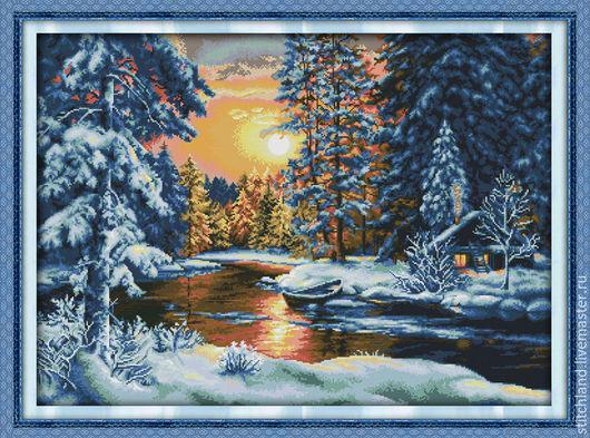 Набор для вышивания `Закат в зимнем лесу`