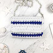 Клатчи ручной работы. Ярмарка Мастеров - ручная работа Клатч белый в синюю полоску. Handmade.