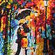 """Город ручной работы. Ярмарка Мастеров - ручная работа. Купить Картина бисером """"Под дождем"""". Handmade. Дождь, зонт, отражение"""