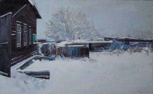 Пейзаж ручной работы. Ярмарка Мастеров - ручная работа. Купить Зимний двор. Handmade. Пейзаж, серый, двп, масло