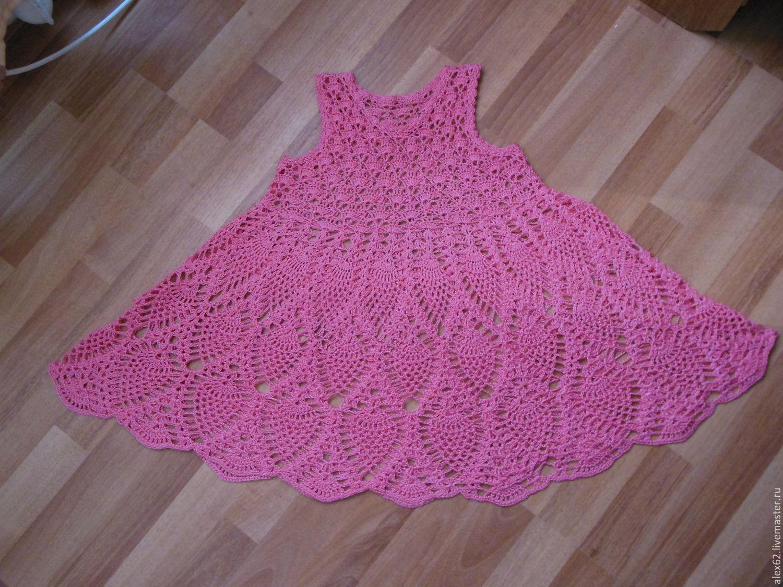 Блузки ручной работы. Ярмарка Мастеров - ручная работа. Купить Платье вязанное детское. Handmade. Розовый, крючком, однотонный