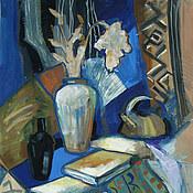 Картины и панно ручной работы. Ярмарка Мастеров - ручная работа Картина. Натюрморт с книгой и чайником. Handmade.