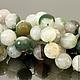 Бусины из натурального камня агата зеленого цвета формы граненый шар диаметром 14 мм комплектами по 10 штук для использования в сборке украшений