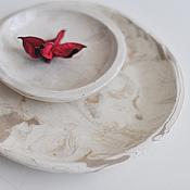"""Посуда ручной работы. Ярмарка Мастеров - ручная работа набор тарелка + соусница """"мраморные"""" белая и коричневая. Handmade."""