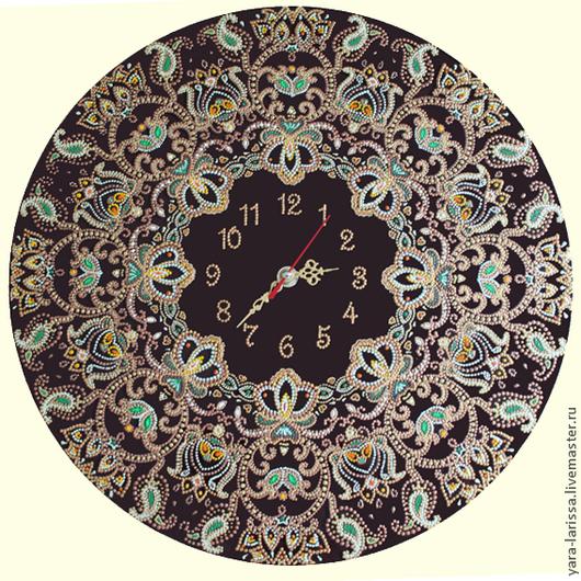 Часы настенные `Плодородие`. Часы настенные выполненные в технике точечной росписи. Часы настенные мандала.