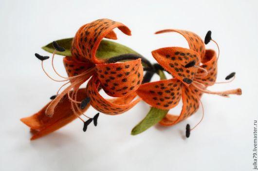 Броши ручной работы. Ярмарка Мастеров - ручная работа. Купить Лилия тигровая. Handmade. Оранжевый, лилия, валяние из шерсти, подарок