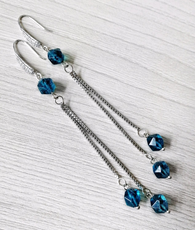 Long earrings with natural blue quartz, Earrings, Tolyatti,  Фото №1