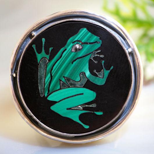 """Кольца ручной работы. Ярмарка Мастеров - ручная работа. Купить Кольцо """"Царевна Лягушка"""" - флорентийская мозаика, серебро. Handmade. лягушка"""