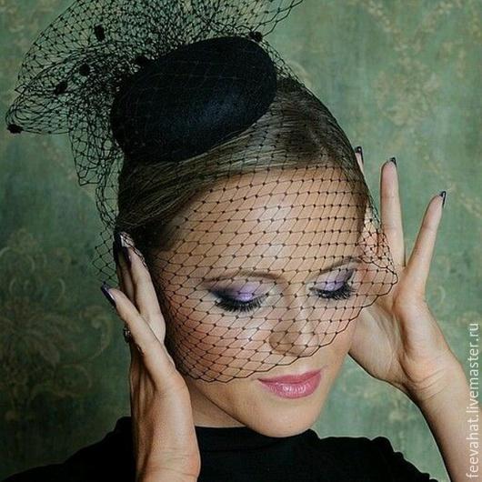 Шляпы ручной работы. Ярмарка Мастеров - ручная работа. Купить маленькая чёрная шляпка с вуалью. Handmade. Черный, шляпка с вуалью