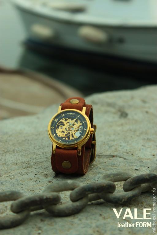 Часы наручные brass, часы мужские. Часы коричневые. Коричневый. Кожа натуральная. Коричневый браслет.