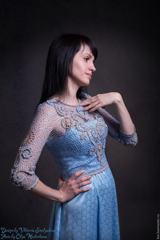 Платья ручной работы. Ярмарка Мастеров - ручная работа. Купить Голубое платье. Handmade. Голубой, хлопок 100%