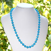 Работы для детей, handmade. Livemaster - original item Beads from natural blue turquoise with a cut. Handmade.