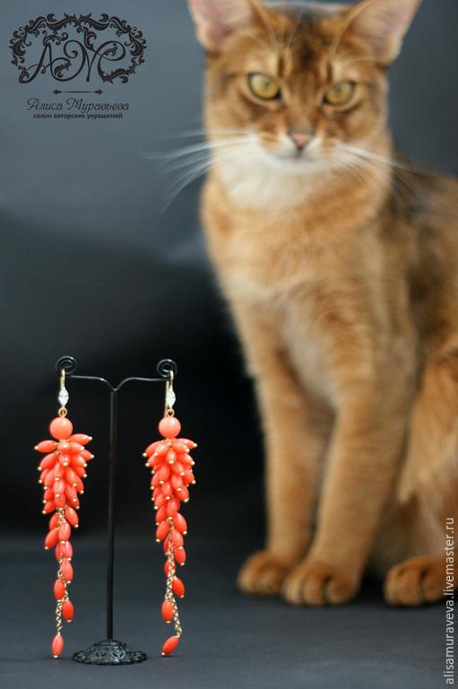 """Серьги ручной работы. Ярмарка Мастеров - ручная работа. Купить Серьги -грозди """" Coral sunset """" коралл, позолота. Handmade."""