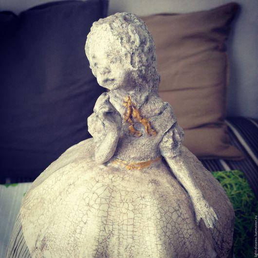 Светильник ручной работы из папье маше Алиса в Стране Чудес в сером кракелюре. Light Dreams.