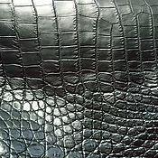 Материалы для творчества handmade. Livemaster - original item Crocodile leather, haberdashery, abdomen, black.. Handmade.
