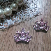 Материалы для творчества handmade. Livemaster - original item !Scrapbooking. Decor-the buckle,brooch with rhinestone, Crown, rose quartz. Handmade.