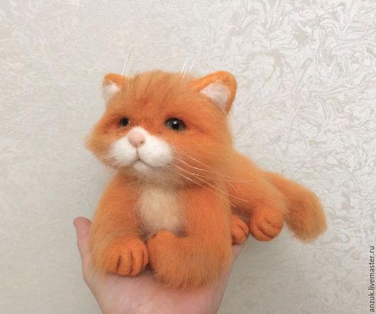 Игрушки животные, ручной работы. Ярмарка Мастеров - ручная работа. Купить Рыжая кошка. Handmade. Золотой, валяние по фото