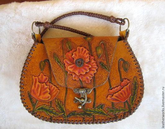 """Женские сумки ручной работы. Ярмарка Мастеров - ручная работа. Купить Кожаная сумочка """"Маки"""". Handmade. Рыжий, плетеный"""