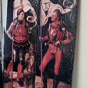 Картины и панно ручной работы. Ярмарка Мастеров - ручная работа Панно очень крупное парное 32x100 деревянное А.Дюрер Рыцари. Handmade.