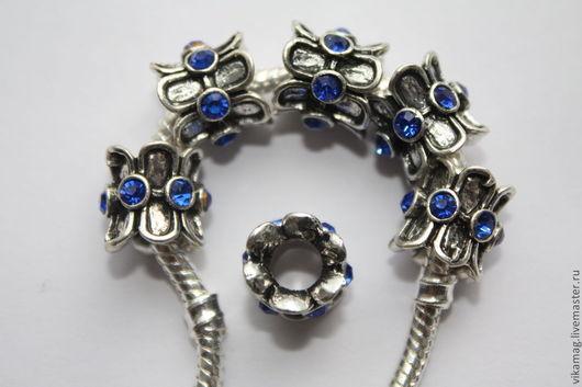 Для украшений ручной работы. Ярмарка Мастеров - ручная работа. Купить Бусины в стиле Пандора  металл с синими  стразами. Handmade.
