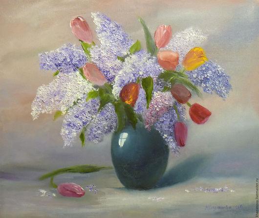 """Картины цветов ручной работы. Ярмарка Мастеров - ручная работа. Купить """"Цветы для любимой"""" (холст/масло). Handmade. Сиреневый, картина на холсте"""